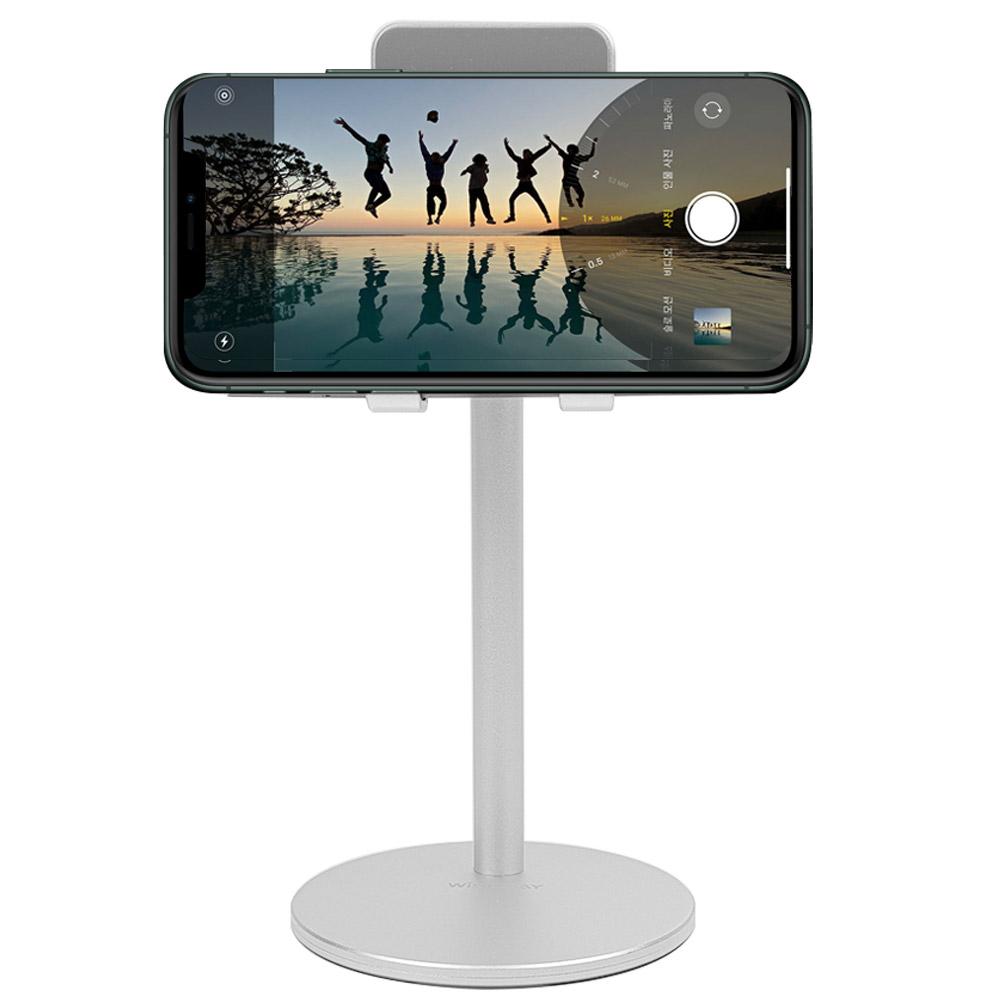 와이즈데이 휴대용 접이식 탁상용 핸드폰 거치대 스테이션파워+, 실버, 1개