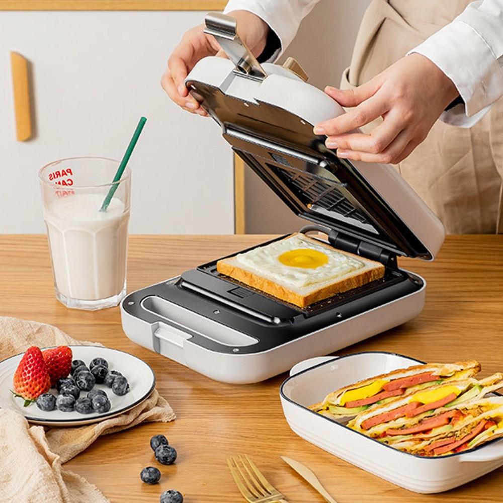 와플 샌드위치메이커 3in1 토스트기 간식메이커, 표준 화이트-샌드위치팬